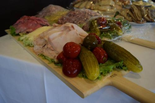 deli meats on board - cold buffet close up